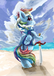 Size: 2759x3914 | Tagged: safe, artist:owlvortex, rainbow dash, pony, beach, bipedal, clothes, headband, looking back, pirate, pirate dash, solo, sword, weapon