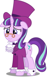 Size: 3076x5000 | Tagged: safe, artist:dashiesparkle, artist:illumnious, snowfall frost, starlight glimmer, a hearth's warming tail, .svg available, absurd resolution, clothes, female, full body, hat, ponyscape, simple background, solo, spectacles, top hat, transparent background, vector