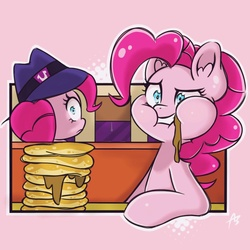 Size: 1023x1024 | Tagged: safe, artist:acrylic-stroke, pinkie pie, the saddle row review, clone, duality, ear fluff, food, messy eating, pancakes, pinkie clone, scene interpretation