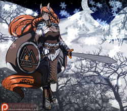 Size: 1280x1122 | Tagged: safe, artist:avante92, oc, oc only, earth pony, anthro, unguligrade anthro, anthro oc, belt, big breasts, braid, braided tail, breasts, cleavage, clothes, crescent moon, explicit source, female, leather armor, moon, night, norse, patreon, patreon logo, red hair, shield, snow, snowfall, solo, stars, sword, tattoo, tree branch, valknut, weapon, winter