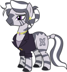 Size: 2757x2942 | Tagged: safe, artist:duskthebatpack, oc, oc only, oc:zuna, zebra, bedroom eyes, blazer, blouse, clothes, cutie mark, ear piercing, earring, female, jewelry, mare, necklace, piercing, simple background, solo, suit, transparent background, vector