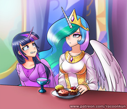 Size: 750x649   Tagged: safe, artist:racoonsan, princess celestia, twilight sparkle, human, no second prances, bored, breasts, celestia is not amused, clothes, cup, cupcake, dress, duo, female, food, horned humanization, humanized, patreon, plate, scene interpretation, table, tea, twilight sparkle (alicorn), twilight's castle, winged humanization
