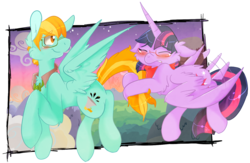Size: 1438x936 | Tagged: safe, artist:flow3r-child, lightning dust, twilight sparkle, alternate universe, floppy ears, glasses, lightning powder, rule 63, twidust, twilight sparkle (alicorn)