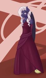 Size: 1147x1920 | Tagged: safe, artist:magic-violet, oc, oc only, oc:violet seren, anthro, bat pony, blushing, clothes, dress, solo
