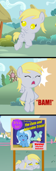 Size: 1000x3000 | Tagged: safe, artist:beavernator, artist:red4567, derpy hooves, trixie, pony, no second prances, baby, baby pony, comic, cute, derpabetes, diatrixes, hit, magic show, ouch, red4567 is trying to murder us, scene interpretation, sign, weapons-grade cute, younger