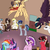 Size: 3000x3000 | Tagged: safe, artist:saphi-boo, rainbow dash, twilight sparkle, oc, oc:poppy apple seed, alicorn, pegasus, pony, unicorn, coffee, female, fluffy, lesbian, mare, next generation, offspring, parent:applejack, parent:soarin', parents:soarinjack, shipping, twidash, twilight sparkle (alicorn)