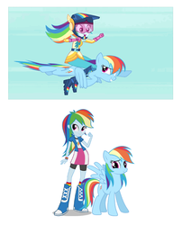 Size: 552x683 | Tagged: safe, rainbow dash, equestria girls, friendship games, blooper, comparison, double rainbow, flying, friendship games bloopers, grin, human ponidox, humans riding ponies, open mouth, self ponidox, size comparison, smiling, spread wings