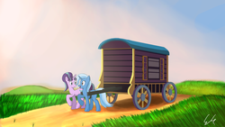 Size: 4800x2700 | Tagged: safe, artist:egstudios93, starlight glimmer, trixie, pony, unicorn, no second prances, absurd resolution, caravan, female, hilarious in hindsight, lesbian, mare, shipping, startrix, trixie's wagon, wagon