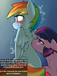 Size: 1800x2400 | Tagged: safe, artist:captainpudgemuffin, rainbow dash, twilight sparkle, pegasus, pony, bedroom eyes, blushing, captainpudgemuffin is trying to murder us, couple, cute, dashabetes, female, floppy ears, fluffy, flustered, heart, kissing, lesbian, mare, pomf, shipping, sitting, smiling, spread wings, surprise kiss, surprised, text, tickling, twiabetes, twidash, wide eyes, wingboner