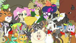 Size: 1280x720 | Tagged: safe, screencap, angel bunny, bessie, constance, derp cat, fluttershy, harry, sci-twi, twilight sparkle, bald eagle, bat, bear, beaver, big cat, bird, buffalo, cat, chicken, chipmunk, cow, dog, duck, eagle, falcon, flamingo, goat, keel-billed toucan, mallard, monkey, mouse, otter, owl, pelican, pig, rabbit, raccoon, sheep, skunk, snake, squirrel, tiger, toucan, equestria girls, friendship games, animal portal, blooper, friendship games bloopers, peregrine falcon
