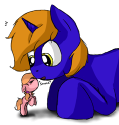 Size: 502x527 | Tagged: safe, artist:epicsquirrelgirl, oc, oc only, oc:ellison pippin, oc:star bright, earth pony, pony, unicorn, :o, bipedal, cute, eyes closed, female, floppy ears, giant pony, kissing, macro, male, open mouth, prone, simple background, size difference, stallion, straight, surprise kiss, surprised, white background, wide eyes
