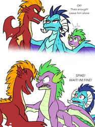 Size: 1536x2048   Tagged: safe, artist:tamersworld, garble, princess ember, spike, dragon, gauntlet of fire, angry, blushing, comic, emberspike, female, implied shipping, male, older, older spike, protecting, rivalry, shipping, straight, winged spike, wings