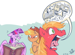Size: 822x605 | Tagged: dead source, safe, artist:jowybean, applejack, big macintosh, twilight sparkle, alicorn, earth pony, pony, twijack weekly, no second prances, applejack is not amused, book, crossed arms, eyes closed, fancy mathematics, female, flustered, frown, grin, lesbian, magic, male, mare, math, nervous, nervous grin, open mouth, pictogram, shipping, speech bubble, stallion, sweat, talkative macintosh, telekinesis, this will end in angry countryisms, twijack, twilight sparkle (alicorn), unamused