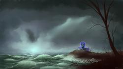 Size: 1920x1080   Tagged: dead source, safe, artist:shamanguli, princess luna, pony, female, scenery, solo, storm, water, wave