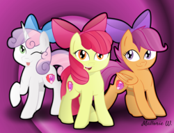Size: 1280x976 | Tagged: safe, artist:sugarwings-art, apple bloom, scootaloo, sweetie belle, adorabloom, apple bloom's bow, backwards cutie mark, bow, cute, cutealoo, cutie mark, cutie mark crusaders, diasweetes, hair bow, open mouth, the cmc's cutie marks, tongue out, wink