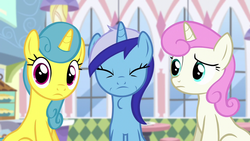 Size: 1280x720 | Tagged: safe, screencap, lemon hearts, minuette, twinkleshine, amending fences, swallowing