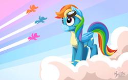 Size: 2560x1600 | Tagged: safe, artist:mysticalpha, rainbow dash, newbie dash, cloud, goggles, silhouette, solo focus, wonderbolts, wonderbolts uniform