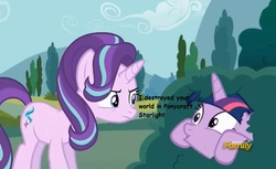 Size: 867x529   Tagged: safe, screencap, starlight glimmer, twilight sparkle, alicorn, pony, unicorn, no second prances, annoyed, bush, bushicorn, discovery family logo, everything is ruined, female, frown, gaming, glare, hiding, mare, meta, minecraft, open mouth, ponycraft, pure unfiltered evil, smiling, twilight bushel, twilight sparkle (alicorn), wide eyes