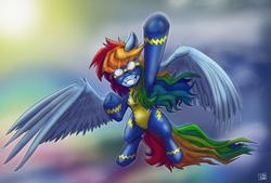 Size: 4272x2894 | Tagged: safe, artist:dinodraketakethecake, rainbow dash, newbie dash, absurd resolution, female, flying, goggles, grin, solo, wonderbolts uniform