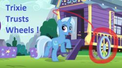 Size: 640x360 | Tagged: safe, edit, screencap, trixie, pony, unicorn, no second prances, female, looking back, mare, missing accessory, trixie's wagon, wagon, wheel, wheels trixie