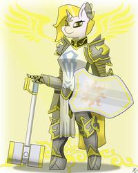 Size: 1600x2000   Tagged: safe, artist:mopyr, oc, oc only, oc:ropessa, anthro, unguligrade anthro, armor, fantasy class, hammer, knight, paladin, shield, solo, war hammer, warrior, weapon
