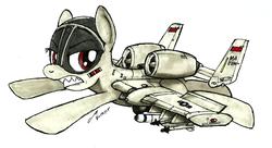 Size: 1502x816 | Tagged: safe, artist:buckweiser, oc, oc only, oc:blitz, original species, plane pony, pony, a-10 thunderbolt ii, agm-65 maverick, aim-9 sidewinder, implied brrrrt, plane, traditional art