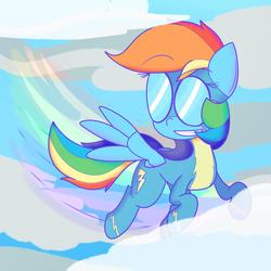 Size: 1280x1280 | Tagged: safe, artist:mr-degration, rainbow dash, newbie dash, cloud, female, flying, solo, wonderbolts uniform