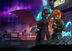 Size: 3000x2122 | Tagged: anthro, artist:orphen-sirius, bat pony, belly button, berlin, city, clothes, cyberpunk, earth pony, ef22, eurofurence, fangs, graffiti, hoof hands, jacket, jeans, leather jacket, necklace, neon, night, oc, oc only, oc:qetesh, oc:tracy swift, pants, safe, sports bra