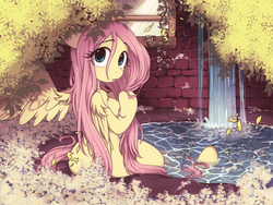 Size: 1024x768 | Tagged: dead source, safe, artist:umeguru, fluttershy, pegasus, anthro, semi-anthro, unguligrade anthro, arm hooves, breasts, cute, female, floppy ears, flower, fluffy, frown, leaves, looking at you, looking back, looking back at you, looking over shoulder, mare, shoulder fluff, shyabetes, solo, spread wings, tree, water, waterfall, wet, wet mane, window, wings