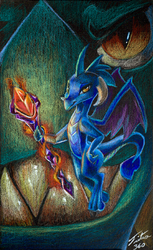Size: 552x900   Tagged: safe, artist:tsitra360, dragon lord torch, princess ember, dragon, gauntlet of fire, bloodstone scepter, colored pencil drawing, dragoness, duo, father and daughter, female, male, signature, traditional art