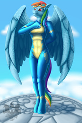 Size: 1046x1563 | Tagged: safe, artist:quakehoof, rainbow dash, anthro, unguligrade anthro, newbie dash, abs, belly button, cloud, female, goggles, heroic posing, latex, latex suit, looking up, salute, sky, smiling, solo, standing, wonderbolts, wonderbolts uniform