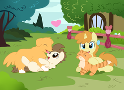 Size: 3509x2550 | Tagged: safe, artist:pridark, pound cake, pumpkin cake, oc, oc:champ (dog), oc:tiger lily (cat), cat, dog, golden retriever, cake twins, cute, licking, older, playing, tongue out