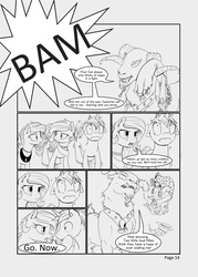 Size: 3560x4984 | Tagged: safe, artist:silfoe, grogar, princess celestia, princess luna, star swirl the bearded, oc, oc:golden vellum, comic:ascension, comic, earth pony celestia, earth pony luna, grayscale, monochrome