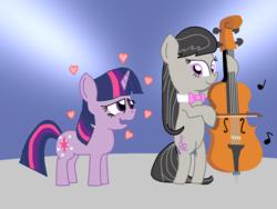 Size: 1350x1017 | Tagged: safe, artist:starshinesprint, octavia melody, twilight sparkle, earth pony, pony, unicorn, cello, female, heart, lesbian, musical instrument, shipping, twitavia