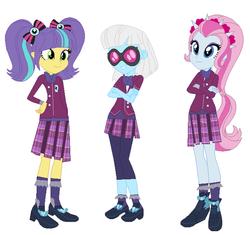 Size: 600x563 | Tagged: safe, artist:pizzasister, photo finish, pixel pizazz, violet blurr, equestria girls, friendship games, clothes, crystal prep academy uniform, school uniform, the snapshots