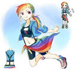 Size: 600x563 | Tagged: artist:shirotsumehakka, belly button, clothes, grin, human, humanized, jacket, midriff, rainbow dash, safe, shorts, smiling, solo, suspenders, tanktop