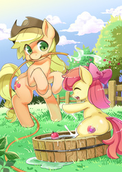 Size: 1000x1411 | Tagged: safe, artist:shepherd0821, apple bloom, applejack, earth pony, pony, adorabloom, apple, bloom butt, bow, bucket, cute, cutie mark, eyes closed, female, filly, food, hair bow, hat, hose, jackabetes, mare, mouth hold, open mouth, plot, rearing, sisters, the cmc's cutie marks, water, wet