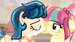 Size: 604x339 | Tagged: artist:flurrypastels-mlp, dead source, equestria girls, equestria girls ponified, female, indigo zap, kissing, lesbian, ponified, safe, shipping, sour sweet, sourzap