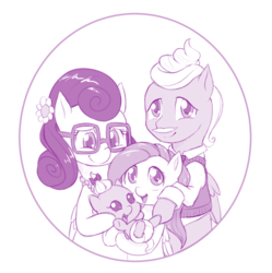 Size: 997x1000 | Tagged: safe, artist:dstears, fluttershy, gentle breeze, posey shy, zephyr breeze, pony, flutter brutter, baby, baby pony, cute, family, family photo, filly fluttershy, happy, monochrome, shyabetes, shys, the shy family, younger, zephyrbetes