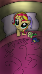 Size: 720x1280 | Tagged: safe, artist:tsundra, sunset shimmer, pony, unicorn, bed, cute, female, filly, filly sunset shimmer, hat, hnnng, nightcap, peridot (steven universe), shimmerbetes, solo, steven universe, weapons-grade cute