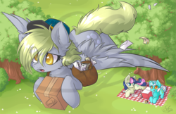 Size: 1260x815 | Tagged: safe, artist:sapphfyr, bon bon, derpy hooves, lyra heartstrings, sweetie drops, earth pony, pegasus, pony, unicorn, chest fluff, colored pupils, ear fluff, female, flower, fluffy, flying, forest, hair over one eye, hat, hoof hold, leg fluff, letter, looking up, lying down, mailbag, mailmare, mare, open mouth, package, picnic, picnic blanket, prone, tree, vertigo, watermark