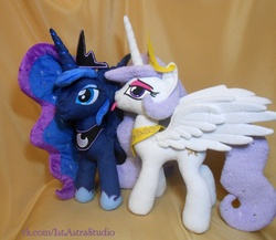 Size: 1473x1280 | Tagged: safe, artist:1stastrastudio, princess celestia, princess luna, princess molestia, irl, photo, plushie, spread wings, tongue out