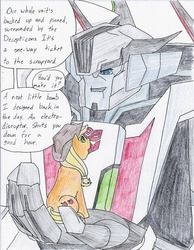 Size: 847x1091   Tagged: safe, artist:frostedicefire, applejack, pony, crossover, holding a pony, in goliath's palm, transformers, transformers prime, wheeljack