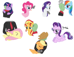 Size: 1831x1415 | Tagged: safe, artist:zharkaer, applejack, fluttershy, pinkie pie, rainbow dash, rarity, starlight glimmer, sunset shimmer, twilight sparkle, oc, oc:anon, alicorn, human, pony, :p, accessory swap, applejack's hat, bedroom eyes, bellyrubs, blushing, boop, cheek kiss, chin scratch, comforting, confused, cowboy hat, crying, cuddling, cute, disembodied hand, eye contact, eyes closed, floppy ears, hand, hat, horses doing horse things, hug, human on pony snuggling, kissing, nose wrinkle, nuzzling, on back, petting, prone, question mark, sad, scrunchy face, simple background, sleeping, smiling, snuggling, thought bubble, tongue out, transparent background, twilight sparkle (alicorn), wink