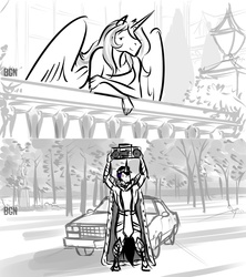 Size: 1024x1153 | Tagged: anthro, armor, artist:bgn, balcony, cape, car, celestibra, chevy, clothes, crown, dress, el camino, female, former good king sombra, hoers, king sombra, male, monochrome, princess celestia, radio, safe, say anything, shipping, straight, tree, unguligrade anthro