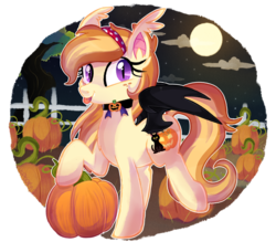 Size: 1600x1400   Tagged: safe, artist:spookyle, oc, oc only, oc:pumpkin patch, bat pony, pony, cloud, collar, ear fluff, fangs, fence, food, full moon, looking at you, looking back, moon, night, night sky, pumpkin, solo, spread wings, stars, tongue out, tree