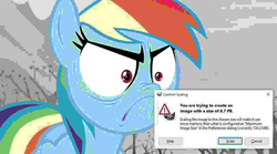 Size: 20000x11113 | Tagged: absurd res, angry, dangerously high res, do i look angry, error message, gimp, needs more jpeg, pony, rainbow dash, safe, scaling warning message, screencap, tanks for the memories, too big, windows, windows 10