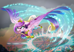 Size: 3507x2480 | Tagged: safe, artist:dormin-kanna, princess cadance, alicorn, pony, angry, badass, charge, colored, crystal empire, female, flight trail, floppy ears, flying, glare, jewelry, magic, mare, open mouth, outdoors, regalia, shit's getting serious, solo, sonic boom, spread wings, wallpaper, war face