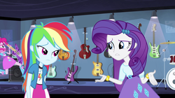 Size: 959x538 | Tagged: safe, screencap, pinkie pie, rainbow dash, rarity, equestria girls, guitar centered, rainbow rocks, balloon, boots, bracelet, clothes, drum kit, drums, electric guitar, female, guitar, high heel boots, jewelry, musical instrument, skirt