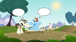 Size: 1600x900 | Tagged: safe, gizmo, rainbow dash, comic, crack shipping, crush, custom comic, female, fill in the blanks, gizmodash, male, park, ponyville, shipping, speech bubble, straight